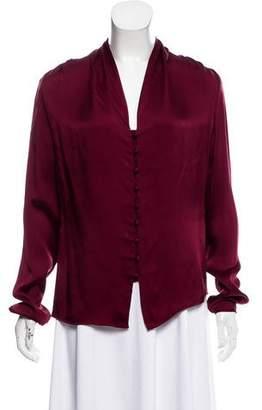 Halston Silk Button-Up Blouse