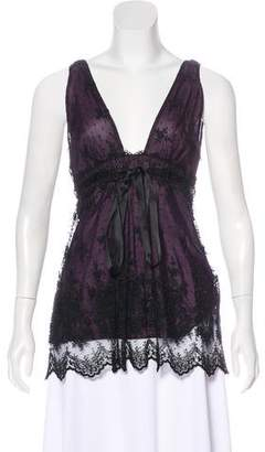 Miguelina Lace-Accented Silk Top