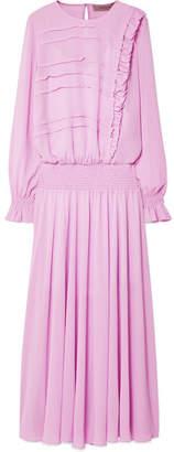 Preen Line Salome Smocked Georgette Maxi Dress - Lavender