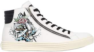 Hogan Tattoo Printed Leather High Top Sneakers