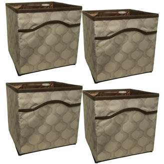 Rubbermaid 4 Pack Collapsible Beige Canvas Basket Storage Containers Cubes Bins Folding Set