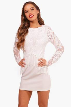 boohoo Petite Long Sleeve Sequin Tassel Dress