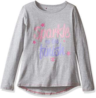 Champion Big Girls' Sparkle to the Finish Ls Graphic Tee