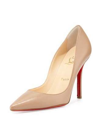 Christian Louboutin Apostrophy Pointed Red Sole Pump, Nude $675 thestylecure.com
