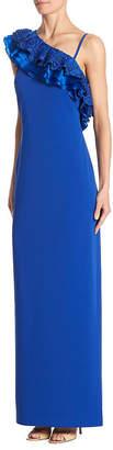 Badgley Mischka One-Shoulder Ruffled Dress