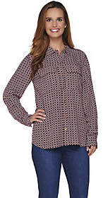 """C. Wonder Rope Print Button Front """"Carrie""""Blouse"""
