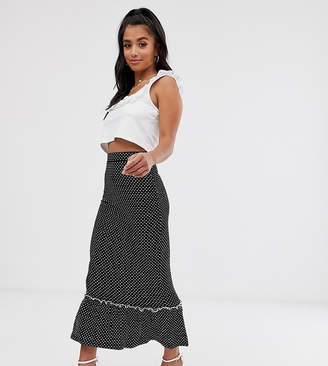 Fashion Union Petite midi skirt with peplum hem co-ord