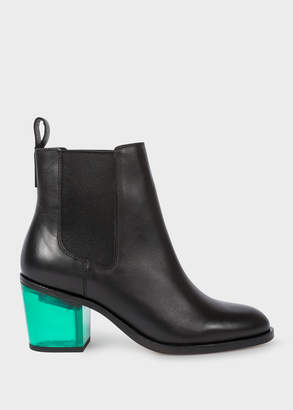 Paul Smith Women's Black Leather 'Shelby' Boots With Green Transparent Heels