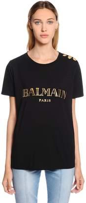 Balmain Metallic Logo Cotton Jersey T-Shirt