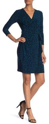 Anne Klein 3\u002F4 Sleeve Print Wrap Dress
