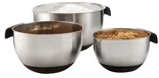 Stellar Stainless Steel Mixing Bowl Set with Silicone Grips & Handles. Mirror finished Nesting Bowls Set contains 1.5 QT, 3 QT & 5 QT Mixing Bowls