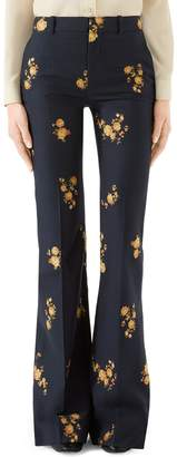 Gucci Camellia Fil Coupe Cotton & Wool Flare Pants