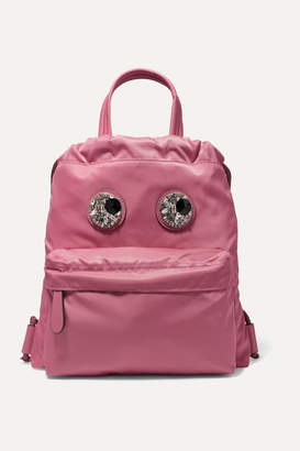 Anya Hindmarch Crystal-embellished Leather-trimmed Shell Backpack - Pink