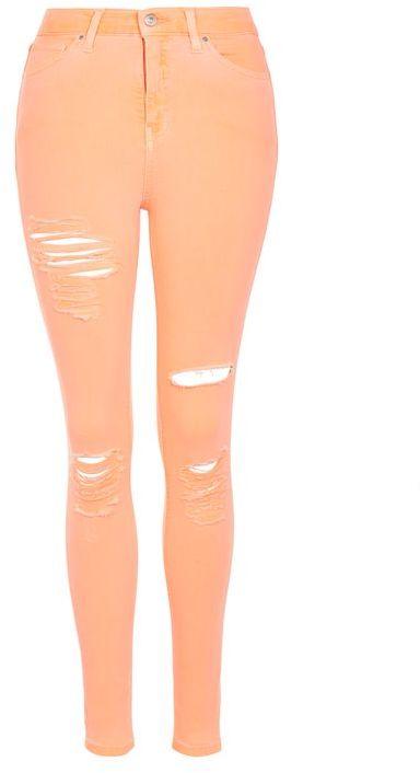 TopshopTopshop Moto orange super ripped jamie jeans