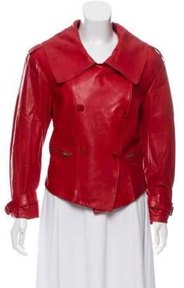 Donna Karan Long Sleeve Leather Jacket