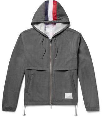 Thom Browne Mesh-Striped Wool Hooded Jacket