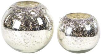 Uma Enterprises Set Of 2 Glam Round Silver Glass & Iron Candle Holders