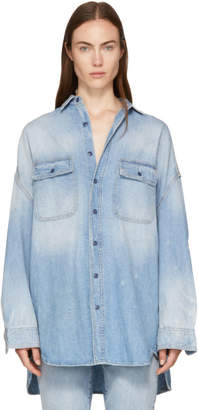R 13 Blue Oversized Denim Shirt