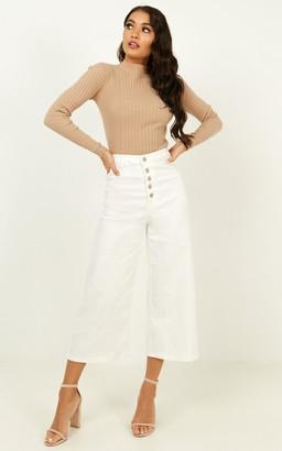 Showpo Ilana Wide Leg Jeans in white denim - 4 (XXS) Cropped Pants