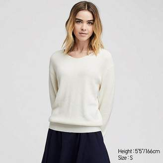 Uniqlo Women's Cotton Cashmere V-Neck Sweater