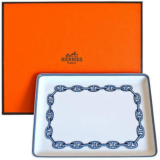 One Kings Lane Vintage HermAs ChaAne d'Ancre Blue Tray with Box - The Montecito Collection