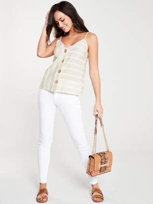 River Island Button Detail Stripe Cami- Brown