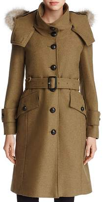 Burberry Claybrooke Fur Trimmed Trench Coat