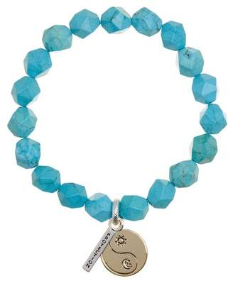 LA Rocks Protection Faceted Reconstituted Turquoise Stretch Bracelet