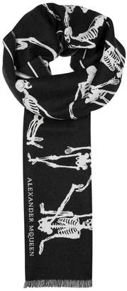 Alexander McQueen Dancing Skeleton Wool Jacquard Scarf
