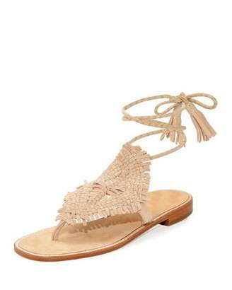 Joie Kacia Woven Flat Ankle-Wrap Sandal, Warm Gold $298 thestylecure.com