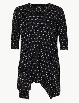 M&S CollectionMarks and Spencer CURVE Printed Round Neck 3/4 Sleeve Tunic