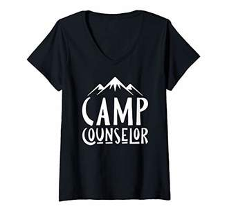 Womens Camp Counselor T-Shirt For Summer Camp Counselors V-Neck T-Shirt