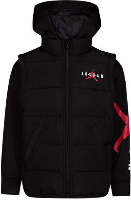 Jordan Big Boys Aj Layered-Look Hooded Puffer Jacket
