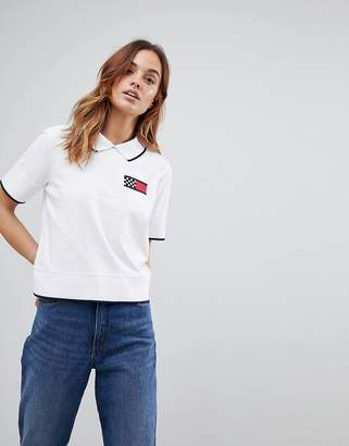 Tommy Hilfiger Crop Polo Shirt With Racing Flag Logo