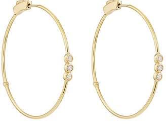 Womens Diamond Three-Bezel Hoop Earrings Jennifer Meyer EUcFp