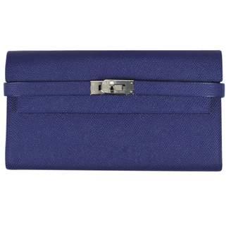 Hermes Kelly Blue Leather Wallets