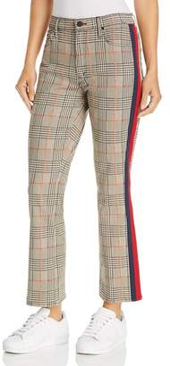 Mother The Insider Plaid Cropped Flared Jeans in Orange/Black