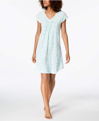 Miss Elaine Printed Knit Short Nightgown
