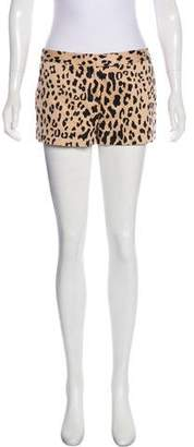Tibi Mid-Rise Animal Print Shorts