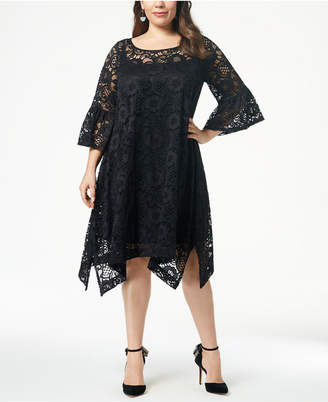 Robbie Bee Plus Size Lace Handkerchief-Hem Dress