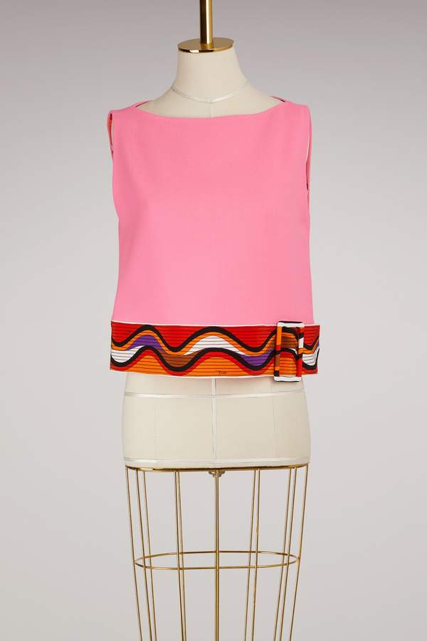 Emilio Pucci Wool sleeveless top with belt detail