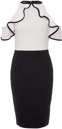 Quiz White and Black Cold Shoulder Frill Midi Dress