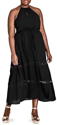City Chic Plus Sleeveless Crochet-Inset Maxi Dress