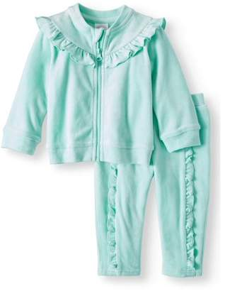 Wonder Nation Ruffle Velour Top & Jogger Pants Tracksuit, 2-Piece Outfit Set (Baby Girls)