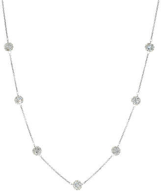 JCPenney FINE JEWELRY Sterling Silver Crystal Beaded Station Necklace