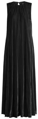 Raey Gathered Neck Velvet Maxi Dress - Womens - Black