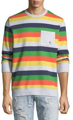 PRPS Men's Candy-Stripe Fleece Sweatshirt with Pocket