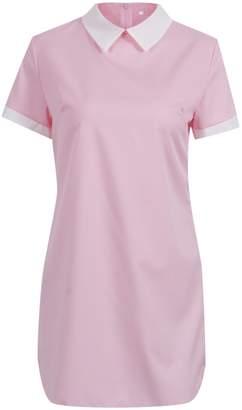 WEARFITY Women Summer Short Sleeve Turn-down Collar Slim Fit Casual Dress