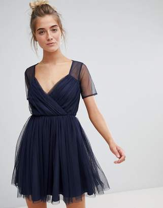Asos Design Tulle Mini Dress with Sheer Sleeve