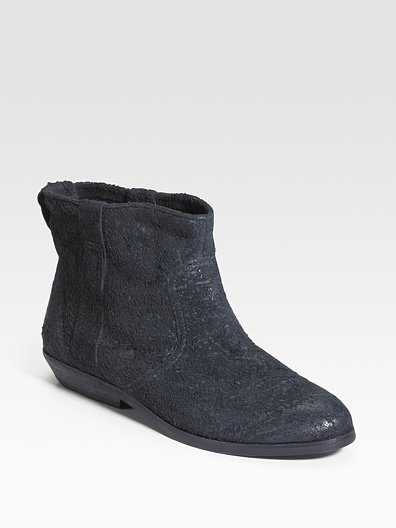 Modern Vintage Distressed Suede Ankle Boots